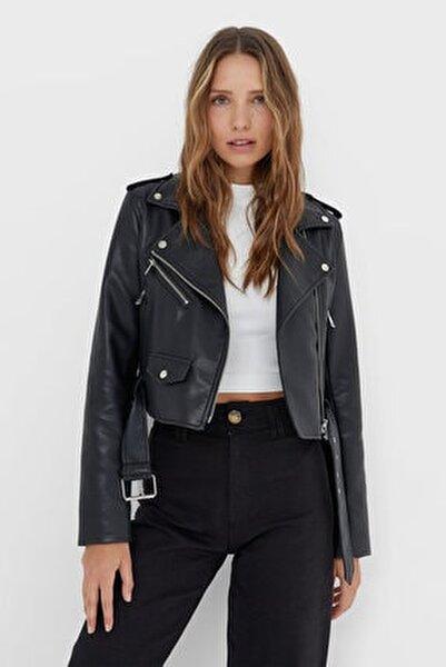 Kadın Siyah Kemerli Suni Deri Basic Ceket