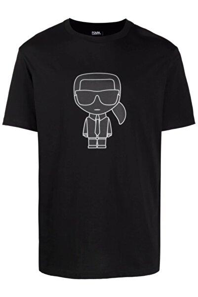 Karl Lagerfeld Karl Big Head Logo Baskı Siyah T-shirt