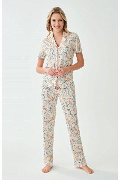 Eros Pijama Kadın Önden Düğmeli Pijama Takımı