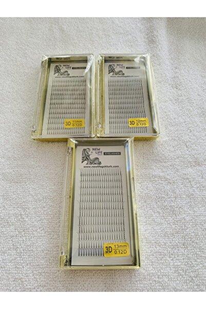 New Life Ipek Kirpik 3d- 3 Kutu D Kıvrım 0,12 Kalınlık 11-12-13mm Uzunluk (sarı Kutu)