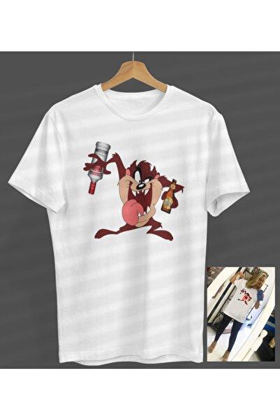 NOVUMUS Unisex Kadın-erkek Tazmanya Canavarı Tasarım Beyaz Yuvarlak Yaka T-shirt