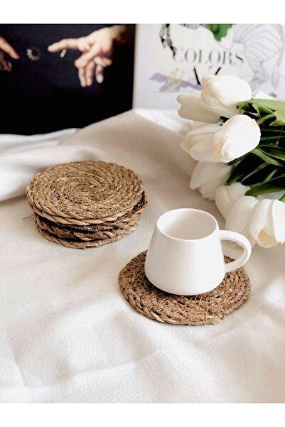 M&K Home %100 Hasır 6'lı Bardak Altı 10 Cm Çay Fincan Kupa Mum Altlığı Yanmaz Doğal Natural El Örmesi