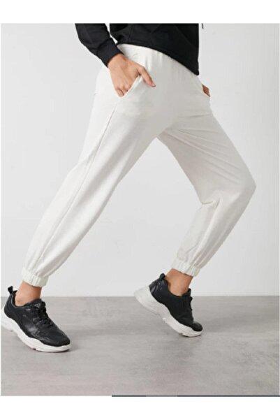 Modoo Tekstil Kadın Beyaz Beli Ve Paçası Lastikli İki Iplik Jogger-Eşofman Altı