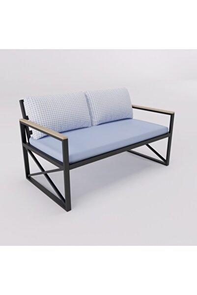 BAM Dizayn Raks İkili Mavi Koltuk Metal Bahçe Balkon Mobilyası