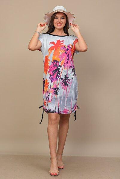 TUSSE Kadın Palmiye Desenli Dijital Büzgülü Büyük Beden Elbise Tunik