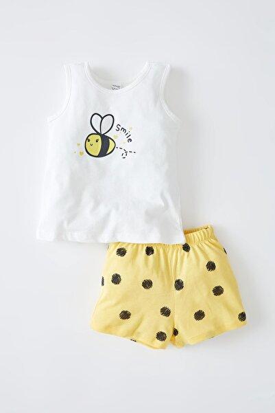DeFacto Kız Bebek Arı Baskılı Kolsuz Pamuklu Pijama Takımı