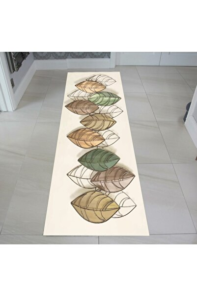 EVPANYA Sonbahar Yaprak Desenli  Koridor & Mutfak Halısı
