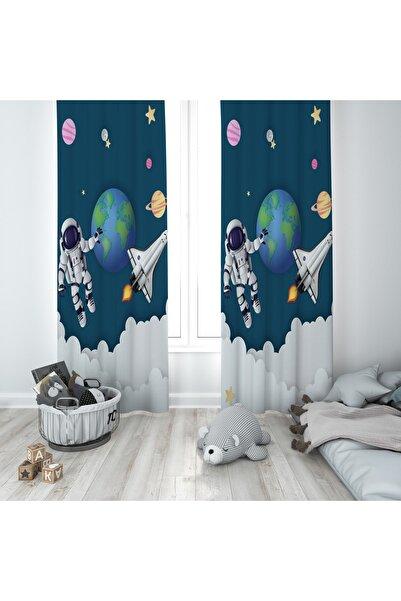 SHOWY BABY Uzay Astronot Desenli Çocuk Odası Fon Perde