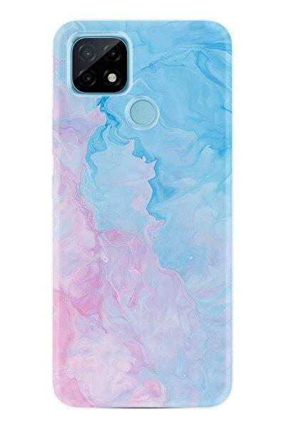 Oppo Realme C21 Kılıf Desenli Silikon Kılıf Pink Blue Abstract 1385