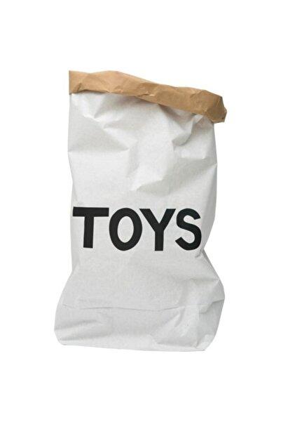 BugyBagy Toys Yazı Figürlü Paperbag Dekoratif Çamaşır Ve Oyuncak Sepeti Saklama Kutusu Kraft Torba