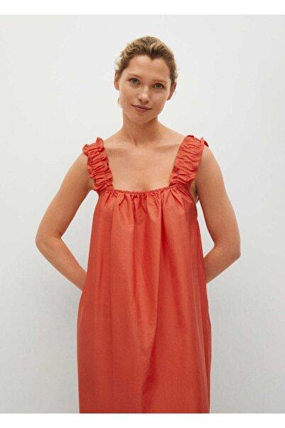 MANGO Woman Kadın Çilek Kırmızısı  Pamuklu Midi Elbise