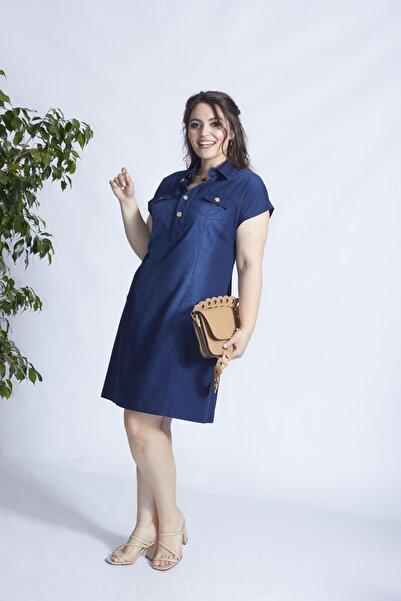 Moda Berray Kadın Mavi Düğmeli Cep Detaylı Kot Elbise