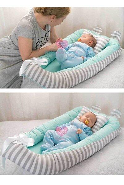Babynest Yatak Mint Ve Gri Çizgili
