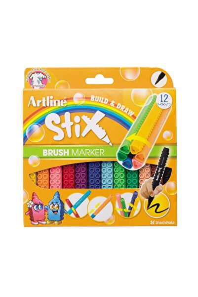 artline Stix Brush Marker 12'li Esnek Uçlu Keçeli Kalem Seti Etx-f/12wk