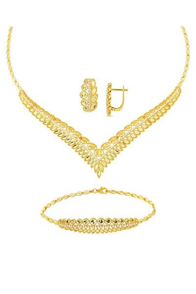 Bilezikci Yapraklı Taşlı Altın Takı Seti