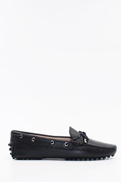 West To West Hakiki Deri Siyah Kadın Loafer Ayakkabı