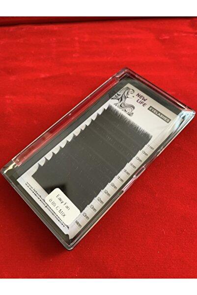 New Life Kolay Volume Ipek Kirpik C Kıvrım 0,05 Kalınlık Mix Kutu 9 10 11 12 13 14mm Uzunluk Aynı Kutuda