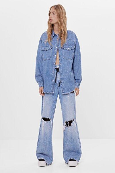 Bershka Kadın Açık Mavi Wide Leg Jean Pantolon