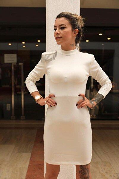 La Fertilite Boutique Kadın Beyaz Zincir Detay Elbise