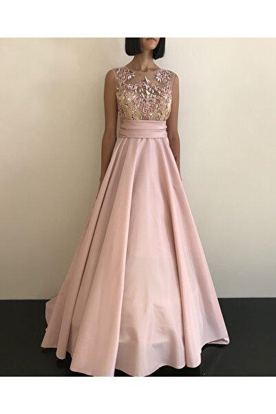 VENÜS MODA by Pınar Kadın Pudra Pembe Tafta Etekli Payet Işlemeli Nişanlık Abiye Elbise