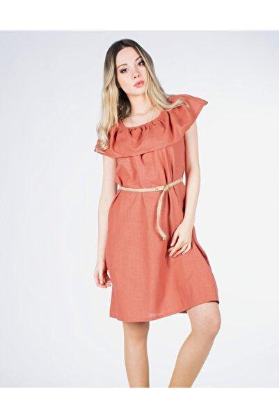 Vision Kadın Kiremit Hasır Kemerli Elbise