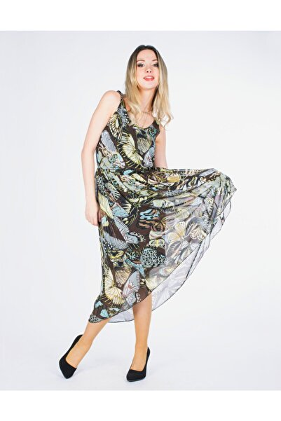 Vision Kadın Yeşil Askılı Çiçek Detaylı Elbise