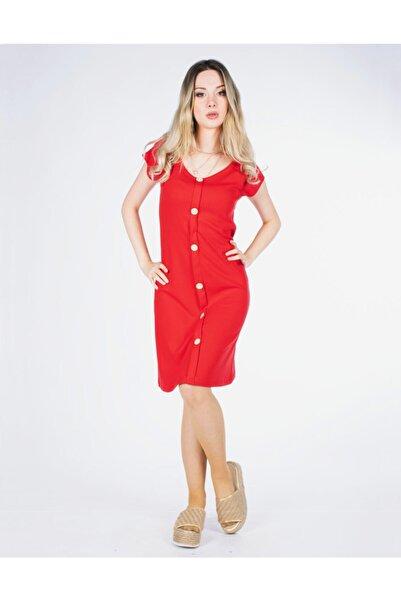 Vision Kadın Kırmızı Düğme Detaylı Elbise