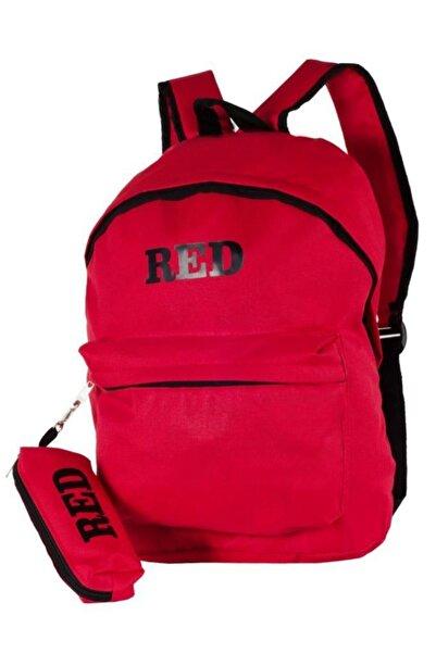 NK Kalemlikli Günlük Ve Okul Klasik Sırt Çantası Kırmızı