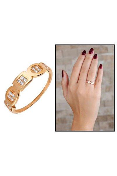 Karaca Butik Kadın Zirkon Taşlı Geometrik Tasarım Rose Renk 925 Ayar Gümüş  Yüzük
