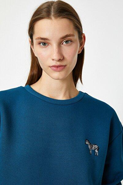 Koton Kadın Petrol Sweatshirt 1KAL68121IK