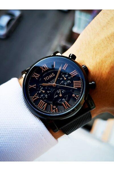 Toms Erkek Siyah  Çelik Kol Saati + Bileklik