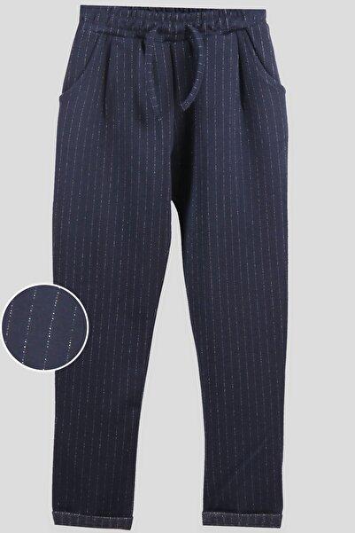 Breeze Kız Çocuk Lacivert Sim Çizgili Cepli Pantolon (8-14 Yaş)