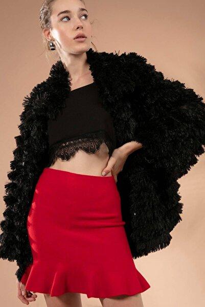 Y-London Kadın Kırmızı Ucu Volanlı Kısa Triko Etek 20952
