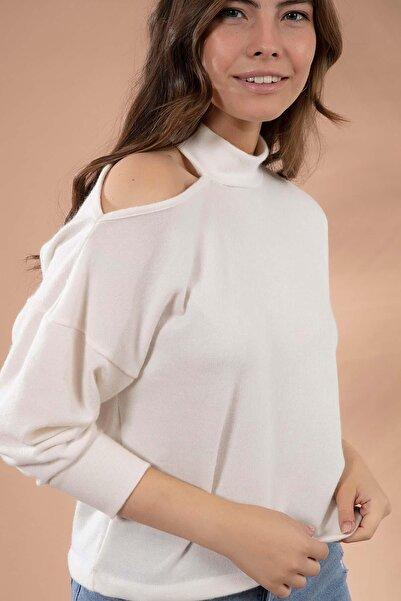Y-London Kadın Ekru Omuz Dekolteli Uzun Kollu Triko Bluz Y20W145-F005