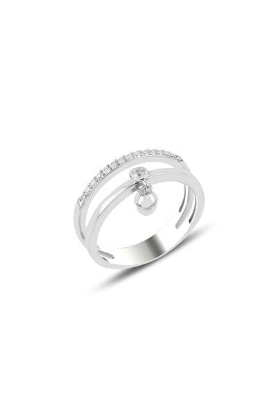Silverella Gümüş 925 Ayar Inci & Zirkon Taşlı Sallantılı Yüzük