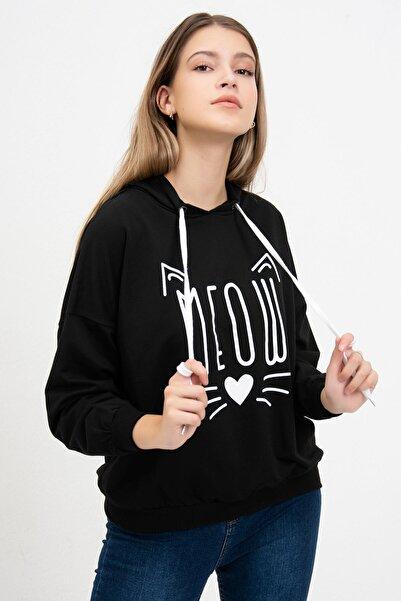 Mossta Kadın Siyah Meow Baskılı Sweatshirt