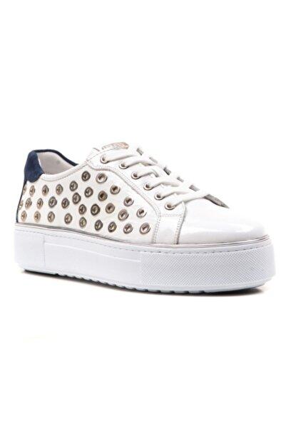 Ferre Kadın  Beyaz Renk Hakiki Deri Kalın Taban Sneaker Ayakkabı