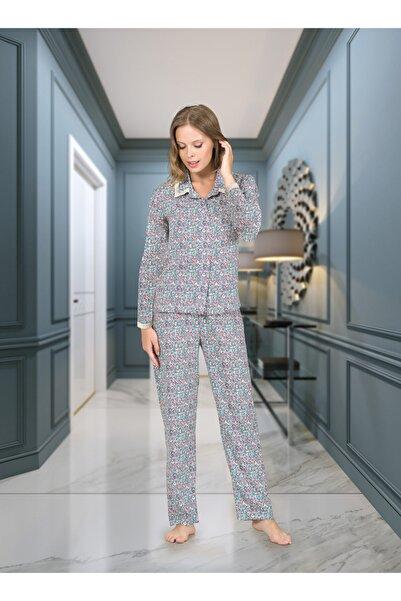 DOREA Kadın Baskılı Önden Düğmeli Uzun Kollu Pijama Takımı 1240