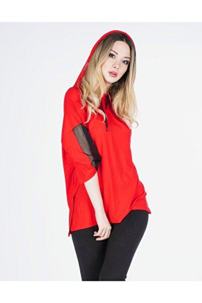 Vision Kadın Kırmızı Kapüşonlu Basic T-shirt
