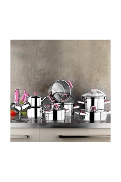 Kütahya Porselen Pembe Silindir 18 Parça Çelik Çeyiz Set