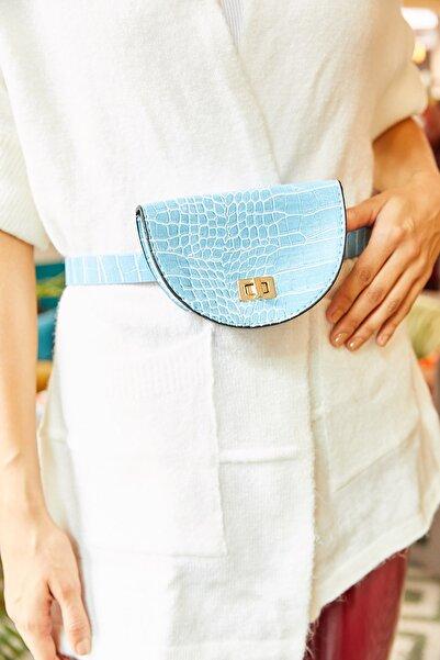 Olalook Kadın Mavi Kemerli Oval Bel Çantası ÇNT-19000007