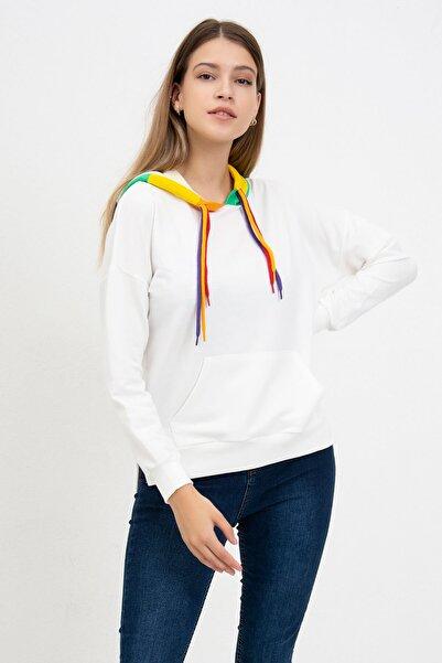 Mossta Kadın Renkli Kapüşonlu Sweatshirt