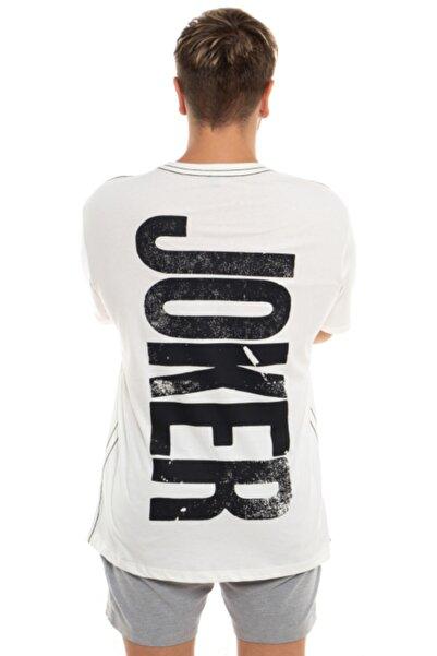 GLOGGY Unisex Beyaz Bol Kesim Joker Baskılı T-shirt