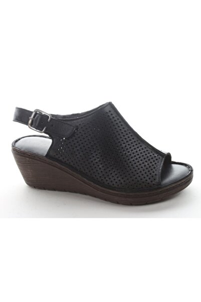 Pandora Kadın Siyah Günlük Deri Sandalet As235