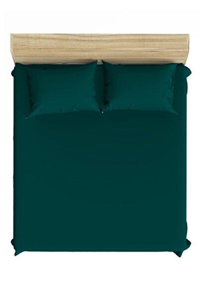 Maki Koyu Yeşil Saten %100 Pamuklu Battal Boy Lastikli Çarşaf Takımı 200x200 cm