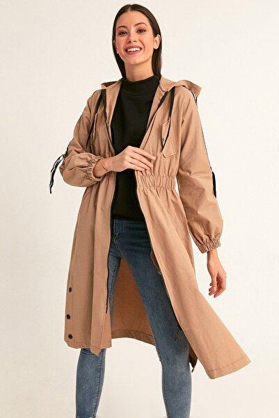 Fulla Moda Kadın Kahverengi Beli Lastikli Kapüşonlu Trençkot