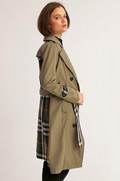Fulla Moda Kadın Haki Arkası Ekose Trençkot
