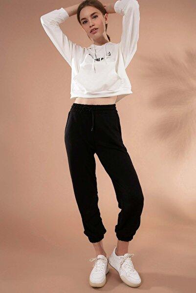 Y-London Kadın Siyah Paçası Lastikli Basic Örme Eşofman Altı Y20W167-7625