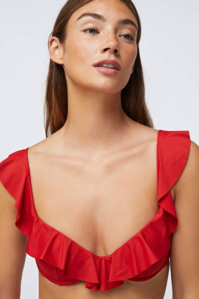 Oysho Kadın Kırmızı Volanlı Balkonet Bikini Üstü