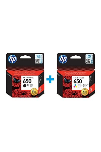 650 Siyah CZ101AE + HP 650 Renkli CZ102AE Orijinal Kartuş Seti